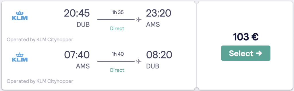 Cheap flight to Amsterdam from Dublin