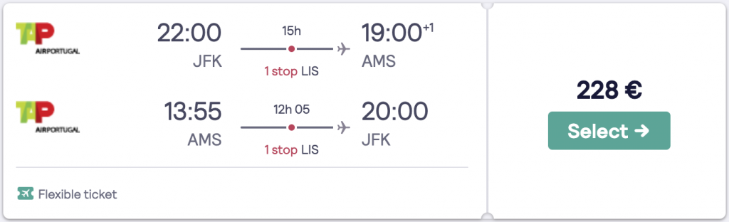 Cheapest flight to Amsterdam from New York