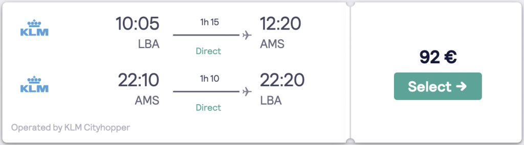 Cheapest flight to Amsterdam from Leeds