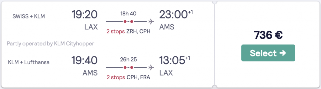 Cheapest flight to Amsterdam from LAX