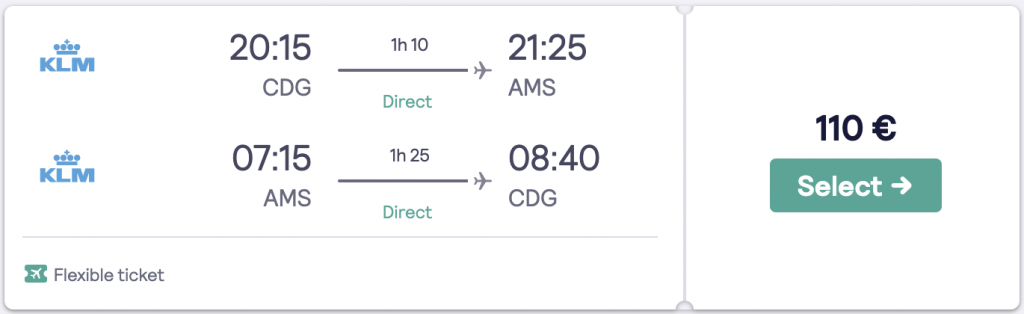 Cheapest flight to Amsterdam from Paris