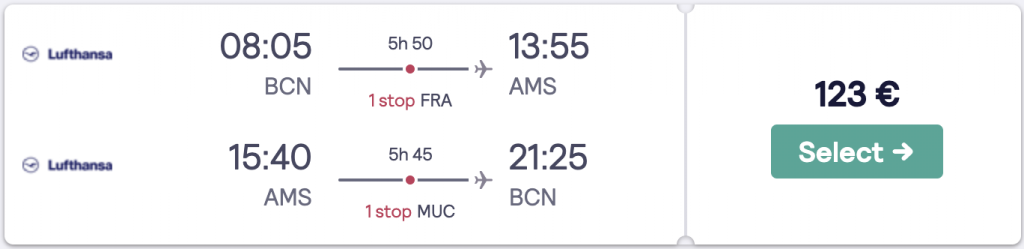 Cheap flight to Amsterdam from Barcelona