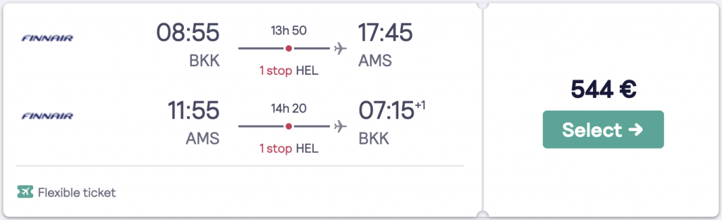 cheapest flight to Amsterdam from Bangkok